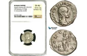 ZD21, Roman Empire, Aquilia Severa, second wife of Elagabalus (AD 220-222), AR Denarius (3.35g) Rome,  221-222 AD, Concordia, NGC Ch AU