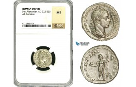 ZD23, Roman Empire, Severus Alexander (222-235 AD), AR Denarius (3.2g) Rome, NGC MS