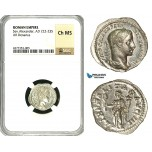 ZD24, Roman Empire, Severus Alexander (222-235 AD), AR Denarius (2.67g) Rome, 222 AD, Liberalitas, NGC Ch MS