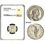 ZD26, Roman Empire, Severus Alexander (222-235 AD), AR Denarius (2.82g) Rome, Pax, NGC MS