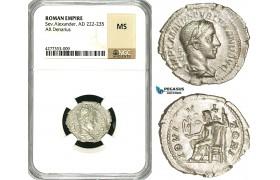 ZD28, Roman Empire, Severus Alexander (222-235 AD), AR Denarius (2.94g) Rome, Jupiter, NGC MS