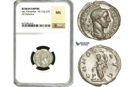 ZD29, Roman Empire, Severus Alexander (222-235 AD), AR Denarius (2.36g) Rome, Annona, NGC MS