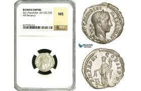 ZD31, Roman Empire, Severus Alexander (222-235 AD), AR Denarius (2.35g) Rome, Annona, NGC MS
