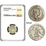 ZD32, Roman Empire, Severus Alexander (222-235 AD), AR Denarius (3.69g) Rome, Victory, NGC Ch AU