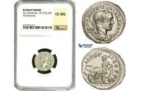 ZD33, Roman Empire, Severus Alexander (222-235 AD), AR Denarius (3.9g) Rome, Salus, NGC Ch MS