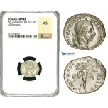 ZD34, Roman Empire, Severus Alexander (222-235 AD), AR Denarius (3.98g) Rome, Mars, NGC MS