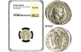 ZD36, Roman Empire, Severus Alexander (222-235 AD), AR Denarius (3.14g) Rome, Fides, NGC Ch AU