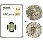 ZD37, Roman Empire, Severus Alexander (222-235 AD), AR Denarius (3.64g) Rome, Mars, NGC Ch AU