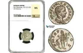 ZD39, Roman Empire, Severus Alexander (222-235 AD), AR Denarius (3.65g) Rome, Fortuna, NGC MS
