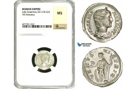 ZD40, Roman Empire, Julia Mamaea (222-235 AD), AR Denarius (3.23g) Rome, 231 AD, Venus, NGC MS