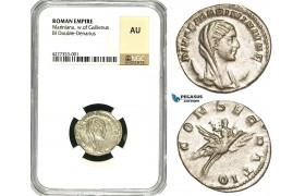 ZD42, Roman Empire, Mariniana (wife of Valerian) BL Double Denarius (3.19g) Rome, Posthumous Issues after 253 AD, Peacock, NGC AU