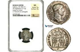 ZD43, Roman Empire, Galerius Maximianus (305-311 AD), AR Argenteus (3.11g), Rome, Tetrarchs, NGC MS