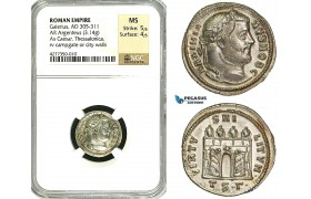 ZD44, Roman Empire, Galerius (305-311 AD), AR Argenteus (3.14g) Thessalonica, Campgate, NGC MS