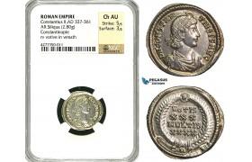ZD46, Roman Empire, Constantius II. (337-361 AD), AR Siliqua (2.80g) Constantinople, NGC Ch AU