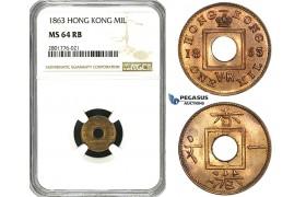 ZD56, Hong Kong, Victoria, 1 Mil 1863, NGC MS64RB