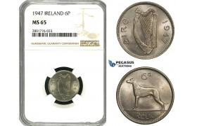 ZD58, Ireland, Free State, 6 Pence (Sixpence) 1947, NGC MS65