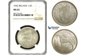 ZD60, Ireland, Free State, 1/2 Crown 1942, Silver, NGC MS65