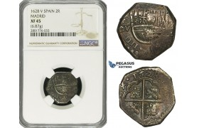 ZD67, Spain, Philip IV, Cob 2 Reales 1628 MD-V, Madrid, Silver (6.87g) NGC XF45