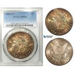 ZD70, United States, Morgan Dollar 1884-CC, Carson City, Silver, PCGS MS64, Rainbow, Semi Prooflike!