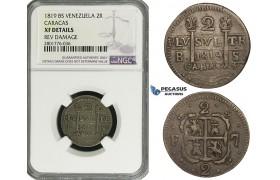 ZD72, Venezuela, Caracas, Ferdinand VII, 2 Reales 1819-BS, Silver, NGC XF Det.