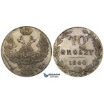 ZD76, Poland (under Russia) Nicholas I, 10 Groszy 1840 M-W, Warsaw, Silver, AU-UNC