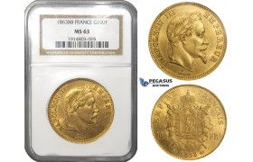 ZD78, France, Napoleon III, 100 Francs 1863-BB, Strasbourg, Gold, NGC MS63