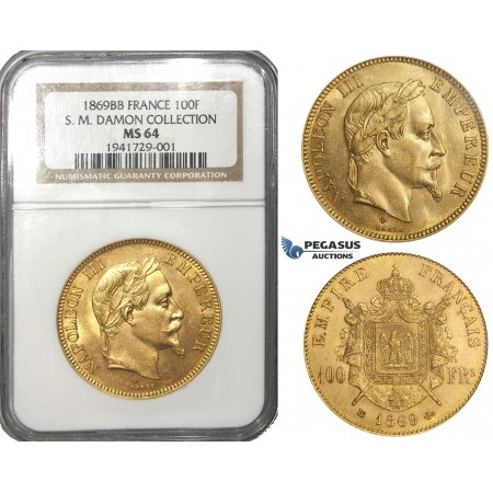 ZD79, France, Napoleon III, 100 Francs 1869-BB, Strasbourg, Gold, NGC MS64