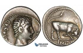 ZD83, Roman Empire, Augustus (27 BC - 14 AD) AR Denarius (3.79g) Lugdunum (Lyon) 15-13 BC, Bull, Patina, VF