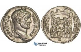 ZD85, Roman Empire, Constantius I Chlorus as Caesar (293-305 AD) AR Argenteus (3.15g) Rome, Campgate, EF