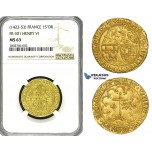 ZD90, France, Anglo-Gallic. Henry VI of England (1422-53) Salut D'or ND, Rouen (Leopard mm) Gold, NGC MS63
