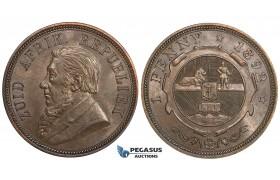 ZD93, South Africa (ZAR) Penny 1892, Lustrous AU-UNC