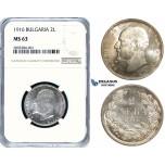 ZE03, Bulgaria, Ferdinand I, 2 Leva 1916, Silver, NGC MS63, Extremely Rare!