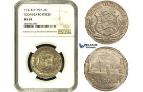 ZE06, Estonia (Toompea Fortress) 2 Krooni 1930, Silver, NGC MS64