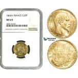 ZE08, France, Napoleon III, 20 Francs 1860-A, Paris, Gold, NGC MS63