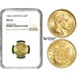 ZE09, France, Napoleon III, 20 Francs 1862-A, Paris, Gold, NGC MS63
