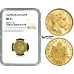 ZE10, France, Napoleon III, 20 Francs 1865-BB, Strasbourg, Gold, NGC MS63