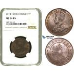 ZE14, Hong Kong, George V, 1 Cent 1924, NGC MS64BN