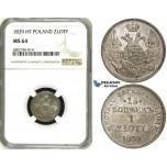 ZE17, Poland (under Russia) Nicholas I, 15 Kopeks/ 1 Zloty 1839 НГ, St. Petersburg, Silver, NGC MS64, Pop 1/0, Finest!