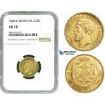 ZE19, Romania, Carol I, 20 Lei 1883-B, Bucharest, Gold, NGC AU58