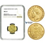 ZE20, Romania, Carol I, 20 Lei 1883-B, Bucharest, Gold, NGC MS61