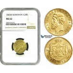 ZE21, Romania, Carol I, 20 Lei 1883-B, Bucharest, Gold, NGC MS62