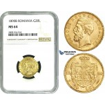 ZE23, Romania, Carol I, 20 Lei 1890-B, Bucharest, Gold, NGC MS64