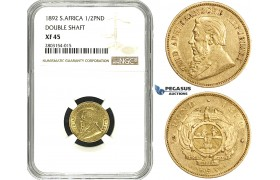 ZE26, South Africa (ZAR) Double Shaft 1/2 Pond 1892, Berlin, Gold, NGC XF45