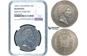 ZE28, Sweden, Carl XIV, 1 Riksdaler 1834/1-CB, Stockholm, Silver, NGC AU