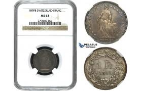 ZE34, Switzerland, 1 Franc 1899-B, Bern, Silver, NGC MS63