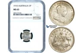 ZE37, Australia, Edward VII, Threepence (3 Pence) 1910, Silver, NGC MS63