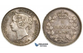ZE39, Canada, Victoria, 5 Cents 1893, Silver, Toned AU