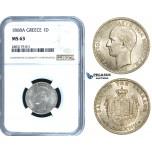 ZE48, Greece, George I, Drachm 1868-A, Paris, Silver, NGC MS63