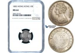 ZE49, Hong Kong, Victoria, 10 Cents 1883, Silver, NGC MS64