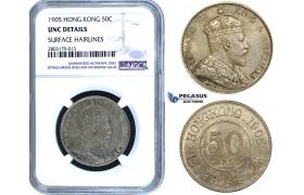 ZE50, Hong Kong, Edward VII, 50 Cents 1905, Silver, NGC UNC Details